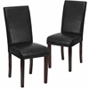 2 Pk. Black Leather Upholstered Parsons Chair