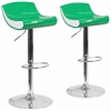 2 Pk. Contemporary Green and White Adjustable Height Plastic Barstool with Chrome Base