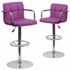 2 Pk. Contemporary Purple Quilted Vinyl Adjustable Height Barstool with Arms and Chrome Base