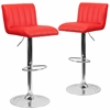 2 Pk. Contemporary Red Vinyl Adjustable Height Barstool with Chrome Base