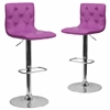 2 Pk. Contemporary Tufted Purple Vinyl Adjustable Height Barstool with Chrome Base