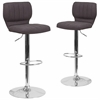 2 Pk. Contemporary Black Fabric Adjustable Height Barstool with Chrome Base