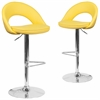 2 Pk. Contemporary Yellow Vinyl Rounded Back Adjustable Height Barstool with Chrome Base
