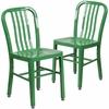 2 Pk. Green Metal Indoor-Outdoor Chair