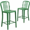2 Pk. 24'' High Green Metal Indoor-Outdoor Counter Height Stool with Vertical Slat Back