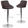 2 Pk. Contemporary Brown Vinyl Bucket Seat Adjustable Height Barstool with Chrome Base