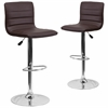 2 Pk. Contemporary Brown Vinyl Adjustable Height Barstool with Chrome Base