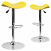 2 Pk. Contemporary Yellow Vinyl Adjustable Height Barstool with Chrome Base