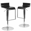 2 Pk. Contemporary Black Plastic Adjustable Height Barstool with Chrome Drop Frame