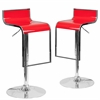 2 Pk. Contemporary Red Plastic Adjustable Height Barstool with Chrome Drop Frame