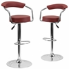2 Pk. Contemporary Burgundy Vinyl Adjustable Height Barstool with Arms and Chrome Base