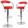 2 Pk. Contemporary Red Vinyl Adjustable Height Barstool with Arms and Chrome Base