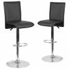 2 Pk. Contemporary Black Vinyl Adjustable Height Barstool with Chrome Base