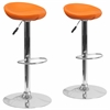 2 Pk. Contemporary Orange Vinyl Adjustable Height Barstool with Chrome Base