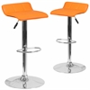 2 Pk. Contemporary Orange Vinyl Adjustable Height Barstool with Chrome Base and Footrest