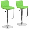 2 Pk. Contemporary Green Vinyl Adjustable Height Barstool with Chrome Base