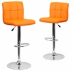 2 Pk. Contemporary Orange Quilted Vinyl Adjustable Height Barstool with Chrome Base