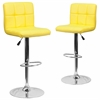 2 Pk. Contemporary Yellow Quilted Vinyl Adjustable Height Barstool with Chrome Base
