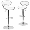 2 Pk. Contemporary Cozy Mid-Back White Vinyl Adjustable Height Barstool with Chrome Base