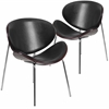 2 Pk. Mahogany Bentwood Leisure Reception Chair with Black Leather Upholstery