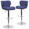 2 Pk. Contemporary Tufted Blue Fabric Adjustable Height Barstool with Chrome Base