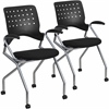 2 Pk.Mobile Nesting Chair with Arms and Black Fabric Seat
