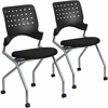 2 Pk.Mobile Nesting Chair with Black Fabric Seat