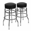2 Pk. Double Ring Chrome Barstool with Black Seat