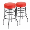 2 Pk. Double Ring Chrome Barstool with Red Seat