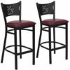 2 Pk. HERCULES Series Black Coffee Back Metal Restaurant Barstool - Burgundy Vinyl Seat
