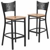 2 Pk. HERCULES Series Black Coffee Back Metal Restaurant Barstool - Natural Wood Seat