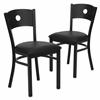 2 Pk. HERCULES Series Black Circle Back Metal Restaurant Chair - Black Vinyl Seat