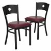 2 Pk. HERCULES Series Black Circle Back Metal Restaurant Chair - Burgundy Vinyl Seat