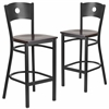2 Pk. HERCULES Series Black Circle Back Metal Restaurant Barstool - Walnut Wood Seat