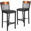 2 Pk. Eclipse Series Vertical Back Black Metal and Cherry Wood Restaurant Barstool with Black Vinyl Seat
