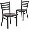 2 Pk. HERCULES Series Black Ladder Back Metal Restaurant Chair - Walnut Wood Seat