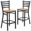 2 Pk. HERCULES Series Black Ladder Back Metal Restaurant Barstool - Natural Wood Seat