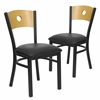 2 Pk. HERCULES Series Black Circle Back Metal Restaurant Chair - Natural Wood Back, Black Vinyl Seat