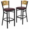 2 Pk. HERCULES Series Black Circle Back Metal Restaurant Barstool - Natural Wood Back, Burgundy Vinyl Seat