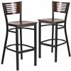 2 Pk. HERCULES Series Black Decorative Slat Back Metal Restaurant Barstool - Walnut Wood Back & Seat