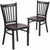 2 Pk. HERCULES Series Black Vertical Back Metal Restaurant Chair - Walnut Wood Seat