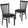 2 Pk. HERCULES Series Black School House Back Metal Restaurant Chair - Black Vinyl Seat