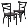 2 Pk. HERCULES Series Black Ladder Back Metal Restaurant Chair - Mahogany Wood Seat