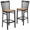 2 Pk. HERCULES Series Black School House Back Metal Restaurant Barstool - Natural Wood Seat