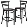 2 Pk. HERCULES Series Black Ladder Back Metal Restaurant Barstool - Mahogany Wood Seat