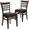 2 Pk. HERCULES Series Walnut Finished Ladder Back Wooden Restaurant Chair - Black Vinyl Seat