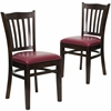 2 Pk. HERCULES Series Walnut Finished Vertical Slat Back Wooden Restaurant Chair - Burgundy Vinyl Seat