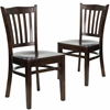 2 Pk. HERCULES Series Walnut Finished Vertical Slat Back Wooden Restaurant Chair