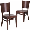 2 Pk. Lacey Series Solid Back Walnut Wooden Restaurant Chair