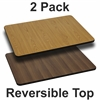 2 Pk. 30'' x 42'' Rectangular Table Top with Natural or Walnut Reversible Laminate Top